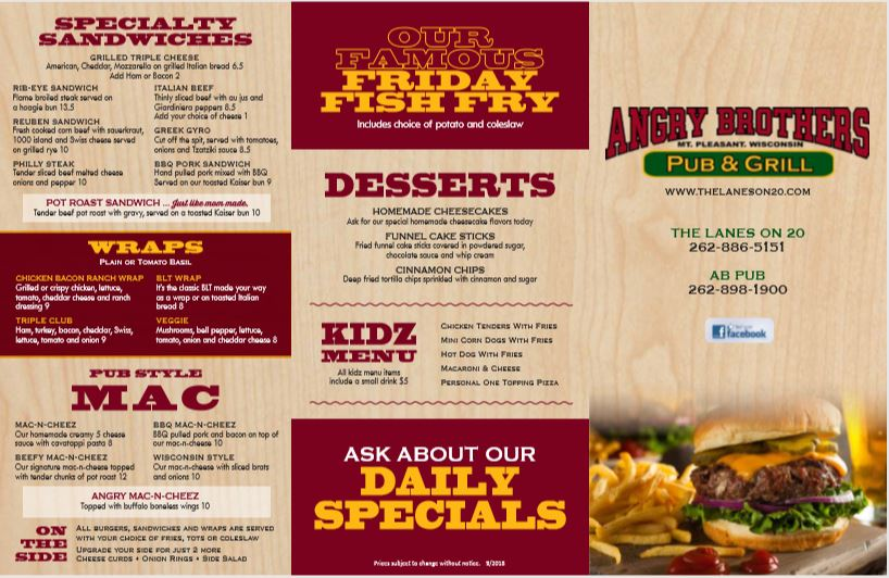 Angry Brothers Pub Menu   The Lanes on 20