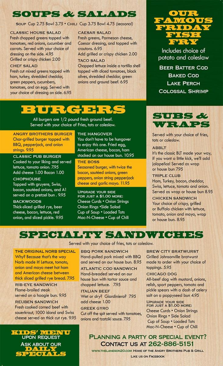 Angry Brothers Pub & Grill Menu